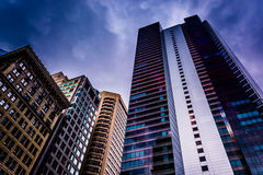 Dark clouds over a skyscraper in Center City, Philadelphia, Penn Royalty Free Stock Photo