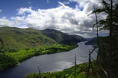 Dark clouds over Thirlmere. Thirlmere as viewed from Raven Crag Royalty Free Stock Images