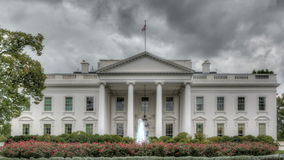 Dark clouds over the White House. HDR Timelapse The White House with dark clouds stock video footage