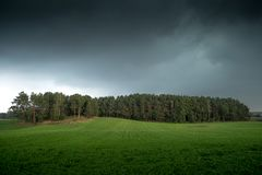 Dark clouds over woods landscape royalty free stock images