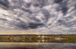 Dark clouds river. Royalty Free Stock Photo