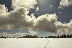 Dark clouds with snow Royalty Free Stock Photo