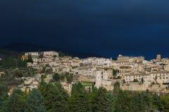 Dark clouds on Spello royalty free stock photos