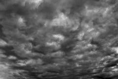 Dark Clouds in Stormy Sky stock image
