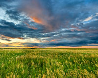 Dark clouds on sunset Stock Photo