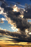 Dark clouds at sunset. Royalty Free Stock Photography