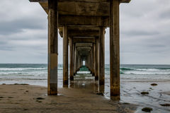 Dark Clouds Surround the Scripps Pier in La Jolla, California Royalty Free Stock Images