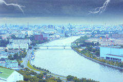 Dark cloudscape above Moscow-river Stock Photos