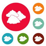 Dark cloudy icons circle set vector. Isolated on white background Royalty Free Stock Photo