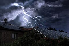 Free Dark Cloudy Sky With Lightning Over House. Stormy Weather Royalty Free Stock Image - 214657146