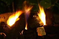 Dark Coal in fire Stock Image
