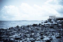 Dark coast. A dark rocky coast at night royalty free stock photos