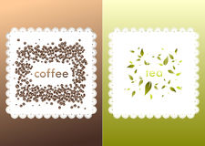 Dark coffee background with napkin and beans. Two gradient colored backgrounds with text, white napkin, coffee beans and tea leaves. Illustrations can be used Royalty Free Stock Photo