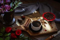 Dark coffee and brown coffee beans Stock Images