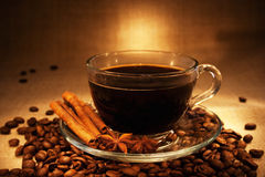 Dark coffee with cinnamon Royalty Free Stock Photography