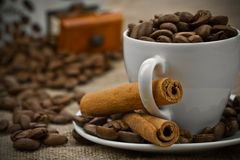 Dark coffee composition royalty free stock photo