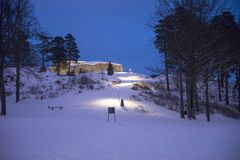 Dark and cold at fredriksten fortress (golden-lion). An early morning at fredriksten fortress in Halden, it's dark and it's cold and there is snow and winter royalty free stock photo