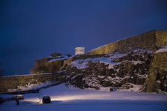 Dark and cold at fredriksten fortress (over-dragon) Royalty Free Stock Images