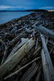 Dark and Cold Keystone Beach on a Winter Sunset On Whidbey Island, Washington, United States. Road Trip to Whidbey Island and stop by Keystone Beach to take some Royalty Free Stock Photography