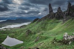 Dark and cold Old Man of Storr in Scotland. Europe Royalty Free Stock Image