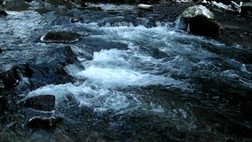 Dark cold water of mountain stream in winter time stock video footage