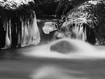 Dark cold water of mountain stream in winter time, small icicles. Royalty Free Stock Images