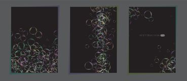Abstract colorful backgrounds. posters. Dark color backdrops with transparent colorful bubbles. Minimalistic realistic. Dark color backdrops with transparent Royalty Free Stock Image