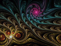 Dark colorful fractal spirals Royalty Free Stock Photography