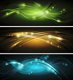 Glowing wavy vector banners Stock Image