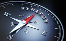 Dark compass with silver and red needle - concept synergy stock illustration