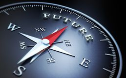 Free Dark Compass With Silver And Red Needle - Concept Future Stock Image - 152350211