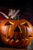 Dark composition of halloween pumpkins Royalty Free Stock Photo
