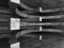 Dark concrete abstract architecture modern background. 3d render illustration Royalty Free Stock Image