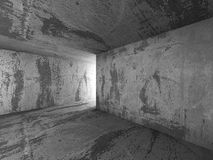 Dark concrete basement room interior with exit light. Architectu Stock Images