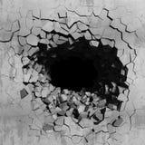 Dark concrete cracked hole. Explosion destruction of wall Stock Photo
