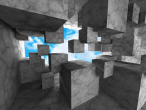 Dark concrete cubes chaitc architecture background with sky. 3d render illustration Royalty Free Stock Image