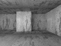Dark concrete empty basement room interior. 3d render illustration Royalty Free Stock Image