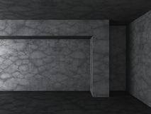 Dark concrete empty room background. 3d render illustration Royalty Free Stock Image