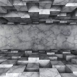 Dark concrete empty room with chaotic cubes construction. 3d render illustration stock illustration