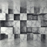 Dark concrete empty room with chaotic cubes wall. Architecture b. Ackground. 3d render illustration Stock Photo