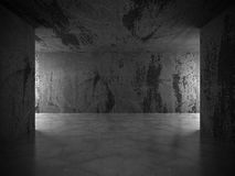 Dark concrete empty room. Grunge architecture modern background. 3d render illustration Stock Photography