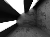 Dark concrete empty room interior. Architecture background. 3d render illustration Stock Images