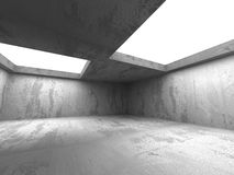Dark concrete empty room interior. Architecture background. 3d render illustration Royalty Free Stock Images