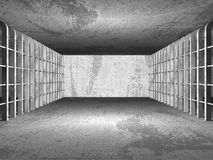 Dark concrete empty room interior architecture columns backgroun. D. 3d render illustration Stock Photography