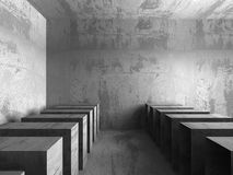 Dark concrete empty room interior background. 3d render illustration Stock Photography
