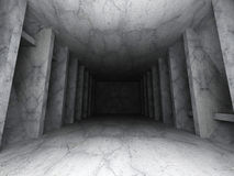 Dark concrete empty room interior background. Urban architecture. 3d render illustration Stock Illustration