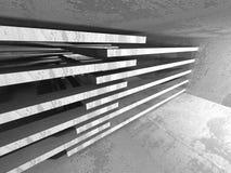 Dark concrete empty room. Modern architecture design Stock Photos
