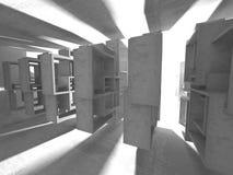 Dark concrete empty room. Modern architecture design Royalty Free Stock Photo