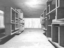 Dark concrete empty room. Modern architecture design Royalty Free Stock Photos