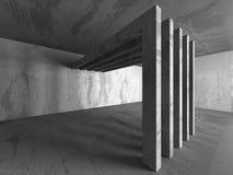 Dark concrete empty room. Modern architecture design Stock Image